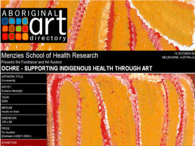 Auction 14 October 08: Menzies School of Health Research presents the Fundraiser & Auction 'Ochre - supporting Indigenous health through art', Melbourne Australia