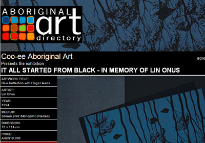 Coo-ee Aboriginal Art presents It All Started from Black - In Memory of Lin Onus, Bondi Beach Australia