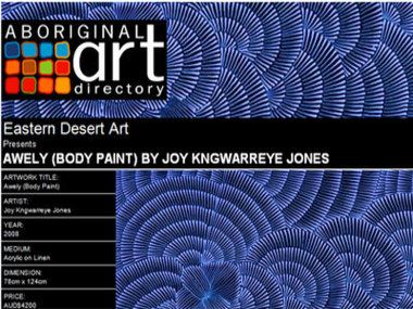 Eastern Desert Art presents Awely (Body Paint) by Joy Kngwarreye Jones