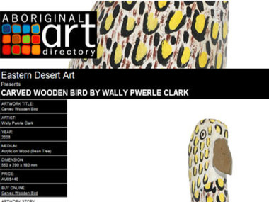 Eastern Desert Art presents Carved Wooden Bird by Wally Pwerle Clark
