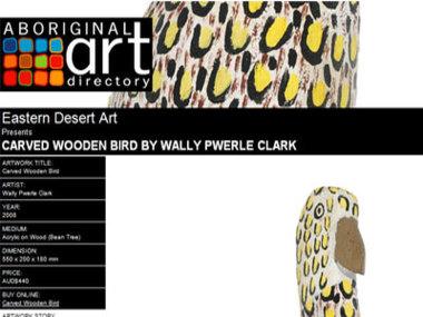 Eastern Desert Art presents Carved Wooden Bird by Wally Pwerle Clark