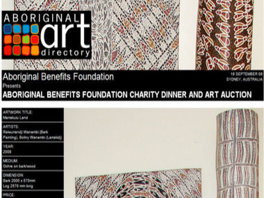Event 18 September 08: Aboriginal Benefits Foundation Charity Dinner and ART Auction, Sydney Australia