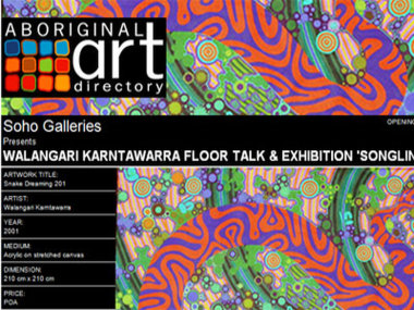 Exhibition 6 September 2008: Soho Galleries presents Walangari Karntawarra Floor Talk & Exhibition 'Songlines', Sydney Australia