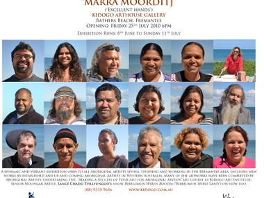 Invitation to MARRA MOORDITJ Aboriginal Student Art Exhibition Opening at Kidogo Arthouse, Fremantle