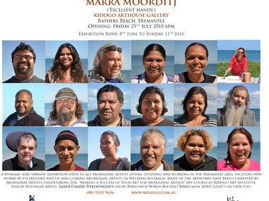 Invitation to MARRA MOORDITJ Aboriginal Student Art Exhibition Opening at Kidogo Arthouse, Fremantle