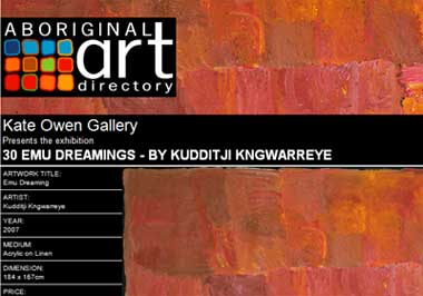 Kate Owen Gallery presents 30 Emu Dreamings by Kudditji Kngwarreye, Sydney Australia